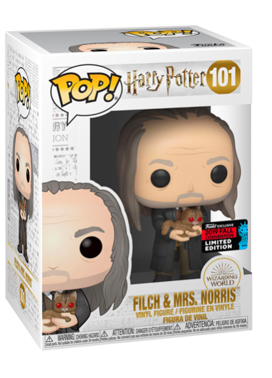 #101 Argus Filch (With Mrs. Norris) (Yule Ball) | Harry Potter Funko Pop! Vinyl in box